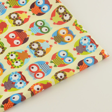 Quilting Patchwork Bedding Decoration Sewing Twill Scrapbooking Home Textile 100% Cotton Yellow Fabric Cartoon Owls Design Tela(China)