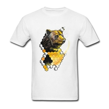 Funny T Shirt Designs Honey Bear Bee 100% Cotton Bee Bear Man Tee Tops 2017 Custom Men's Short Sleeved Clothes