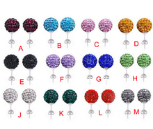 10mm Clay Mixed Multicolor Red Black Red Crystal Micro Pave Disco Ball Silver Plated Shamballa Earrings Stud jewelry for women