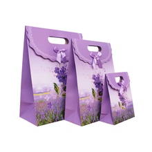 Free Shipping 12 X Lavender Gift bag Wedding Birthday Party Paper Portable Gift Bag Party Favor Supply