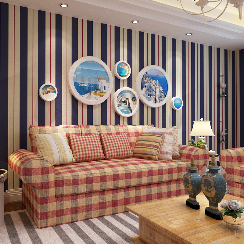 Modern living room wallpaper 3d desktop TV background wall vertical stripes dark blue pink wallpaper roll tapety Beibehang<br>