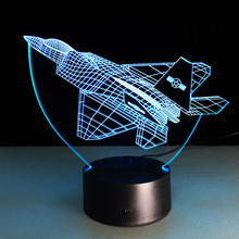 NEW Aircraft 3D Night Lights War Plane Fighter Table lamp Multi Colors Military Jet Plane with USB Power Decor Gift(China)