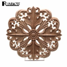 RUNBAZEF Woodcarving Furniture Decoration European Style Solid Wood Round Applique Heart Decorative Flower Figurines Miniatures(China)