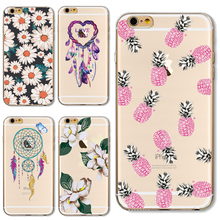 Soft TPU Cover For Apple iPhone 5 5S SE 6 6S 6SPlus 7 7Plus Case Cases Phone Shell Top Popular Painted Pink Pineapple Flowers(China)