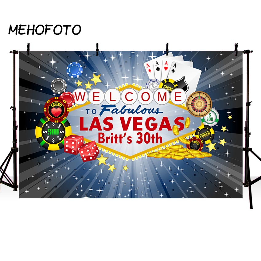 Mehofoto Welcome to Las Vegas Backdrop Casino City Night Scenery Background 7x5ft Vinyl Billboard Banner Themed Party Decoration Backdrops