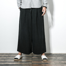New Men's Clothing Autumn cotton and linen leisure wide-legged pants personality loose skirts pants