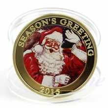 Seasons Greetings Coin SANTA Claus Merry Christmas Gold Plated Token Gift