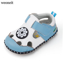 Weoneit New 2017 Summer Baby Boys Shoes, Newborn, Baby Boy Soft Sole Leather First Walkers,toddler's Baby Leather Shoes(China)