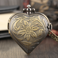 Bronze Copper Love Heart Shape Pocket Watch Exquisite Pendant Modern Women's Quartz Watch Fashion Necklace with Chain Gifts Bag(China)