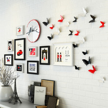 Europe wooden photo frame bed room/living room creative butterfly decor wirh clock paoto wall  combination wedding picture frame