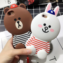 Soft Silicone Cute Cartoon Bear Rabbit 3D Case for iPhone 5 6 6s 7 Plus 4.7 5.5 Luxury brown Phone Cases Coque Rubber