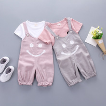 New baby suit in the summer of 2017 boys and girls smiling face coat + suspenders 2 times children suit clothing collection(China)