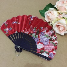 Free Shipping 60pcs/lot assorted colors & flower designs seashell shape Japanese style craft bamboo fan