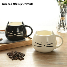 1Pcs Novelty Cute Cat Animal Milk Mug Ceramic Creative Coffee Porcelain Tea Cup Nice Gifts As a Christmas gift(China)