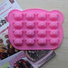Wholesale 10pcs/lot 16 holes Rilakkuma Bear cake silicone nonstick mold french pastry decorating silicone bakeware free shipping