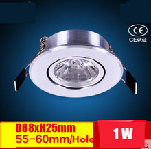 10pcs/lot Mini Downlight 100~200lumen,Cabinet lamp 68(D) x25(H)mm (hole 55mm),CE RoHS Certified,1W LED ceiling spot light bulbs(China)