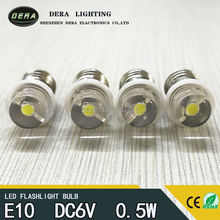 20PCS/lot Wholesale Price E10 0.5W dc6V 4.5V 3V High Brightness Pure White LED Light Bulb For torch Lamp 6000K free shipping(China)