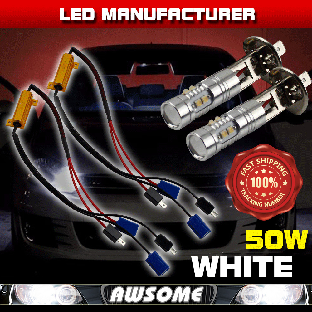 2x 50W 12/24V H1 10SMD LED Fog Headlight DRL Driving Light Xenon White W/ Load Resistor Canbus ERROR FREE Decoders Wirings<br><br>Aliexpress