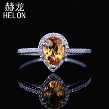 Solid 10k white Gold 7X5mm Pear Genuine Citrine Ring Engagement Wedding Gemstone Jewelry Citrine & Fine Natural Diamonds Ring(China)