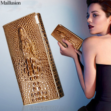 Maillusion Women Wallets Luxury Brand Wallets Designer Purse Genuine Leather 3D Alligator Hasp Coin Purse Female Long Clutch Bag(China)