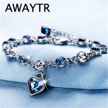 AWAYTR Mother's Day Gift Ocean Hearts Crystal Bracelet Women Fashion Bracelets Jewelry Fashion Wedding Party Gifts