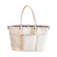 New Arrival Canvas Cotton Tote Bag with Extra Six Pockets on Front and Back Side