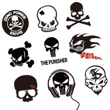 Funny Skull Block Zeno Power Envie Sky Cross The Punisher Car Styling Reflective Vinyl Sticker Fuel Cap Decal Exterior Decor