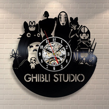 CD Vinyl Record Wall Clock Vintage Studio Ghibli Spirited Away Theme Black Art Watch Duvar Saati Home Decorative Reloj Madera(China)