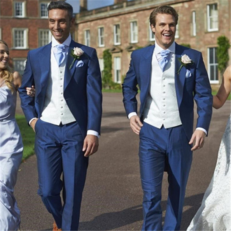 Custom Made Slim Fit Royal Blue Mens Suits 3 Pieces(Jacket+Pants+Vest+Tie) Simple Stylish Groomsman Wedding Prom Tuxedos 239