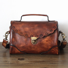 The new true leather women first layer cowhide Crossbody bag handbag antique vegetable tanning XY561(China)
