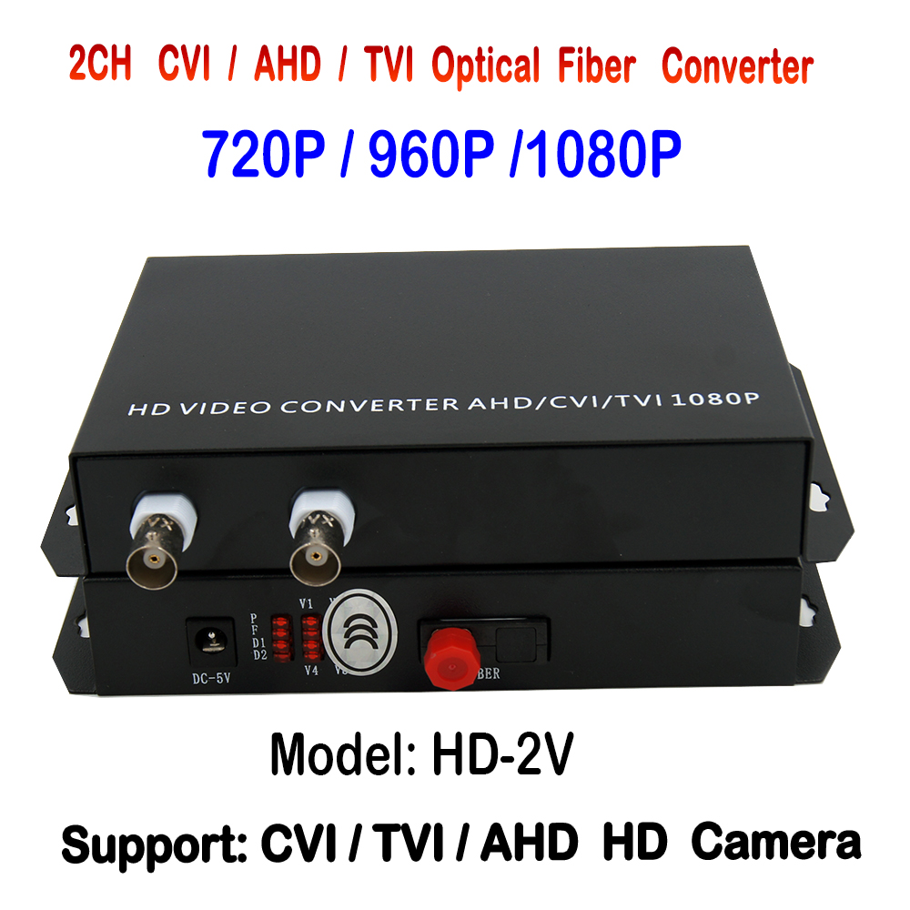 1080p 2channels HD AHD TVI CVI video fiber optical transmitter and receiver , Support 1080P /960P/ 720P HD Analog Camera<br>