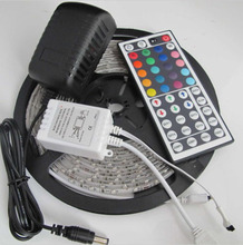 Waterproof 5M 2835(3528) RGB 300led Light Strip for XMAS Party +2A power Adapter +24/44 Keys Ir Remote Controller 1pcs