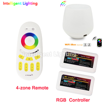 2.4g RF remote + smart wifi box + 2x Mi light RGB led controller