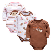 3 PCS 2017 Baby Boy Girl Short Sleeve Cotton Bodysuits Children O-neck Baby Body for 0-9 M Babies Clothing Baby Girl Clothes(China)