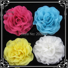 24pcs/lot  17 colors for your choose 2.5 inch chiffon flower silk flower  brooch pin