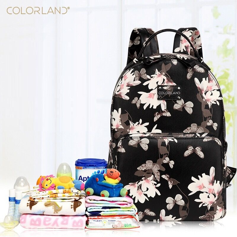 2017 NEW Colorland PU Leather fanshion baby Care Nursing mummy maternity nappy diaper bag organizer brand mom backpack handbags<br>