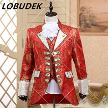 (jacket+pants+vest+tie)suit European prom wedding groom formal dresses costume stage show red singer star performance party(China)