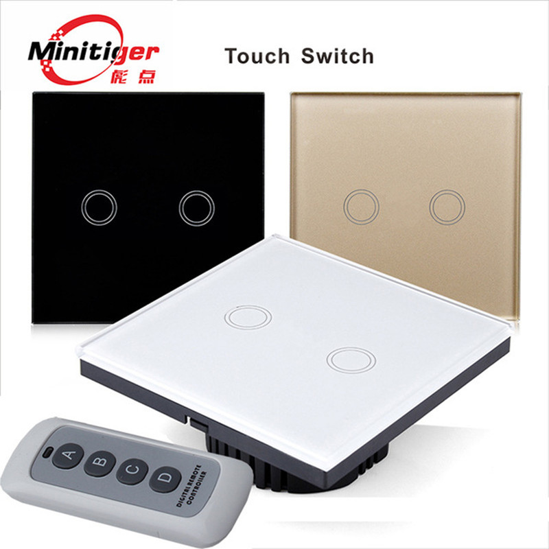 MiniTiger Crystal Glass Panel Touch Switch, EU Standard,  2 Gang 1 Way Remote Control Light Switch,Wall Switch, Touch Switch<br><br>Aliexpress