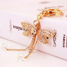 Dragonfly Crystal Diamonte Keyring Charm Pendant Purse Bag Key Holder Keychain High Quality Free Shipping
