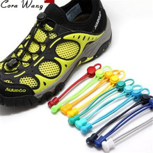 CORA WANG 100CM 1 pair fashion No Tie Locking Shoelaces sneaker elastic Shoelaces children safe elastic shoe lace BSL666B