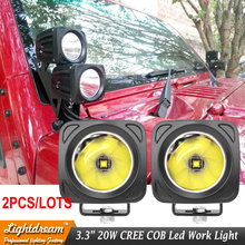 New Lamps 12V 24V Led Narrow Beam 20W square COB Led work driving lights Led Spotlights used for Car Truck 4WD Wrangler x2pcs(China)