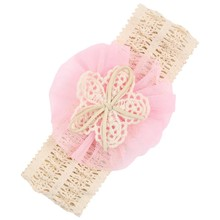Hair Flower Net Yarn Girls Flower Hair Band Pink Hair Ties Accessories For Hair Faixa De Cabelo
