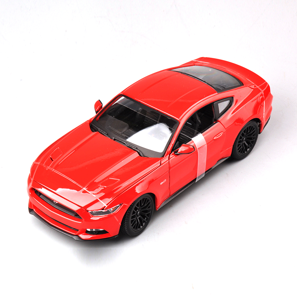 Collectible Alloy Diecast White Red Yellow Blue Black 4 color Car Model 1/18 Scale Ford Mustang 2015 Cars Model Kids Toys Gifts(China)
