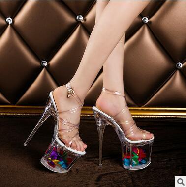 Model Catwalk Shoes High Quality Women Shoes Transparent Sandals Summer Sexy High-h eels19cm Waterproof Thin Heels Platforms <br><br>Aliexpress