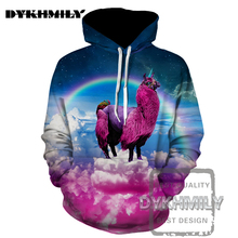 Dykhmily 2017 Men's 3d Hoodie Sheep In The Sky 3d Print Hoodies Cap Windbreaker 3d Cool Print Fashion Men's Clothing Plus Size(China)