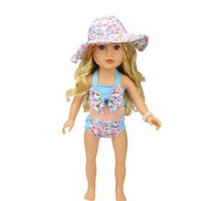 New Products Direct Factory Sale Price 18 inch American Girl Doll Bathing Suit +Sun Hat Doll Clothes Sets AG957(China)