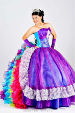 Colorful Rainbow Quinceanera Dresses 2016 Ball Gown Prom Dresses Organza Ruffles Formal Party Dresses Cheap Vestidos De 15 Anos