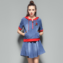 2017 Summer and Autumn New Pattern Even Hat Cowboy Embroidery Color Sweater and Skirt denim women's set TZ2453