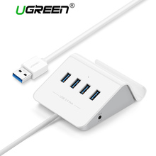 Ugreen USB HUB 4 Port Super Speed Usb 3.0 Hub with DC 5V EU Plug Power Adapter Usb Splitter for Computer Laptop USB 3.0 HUB(China)
