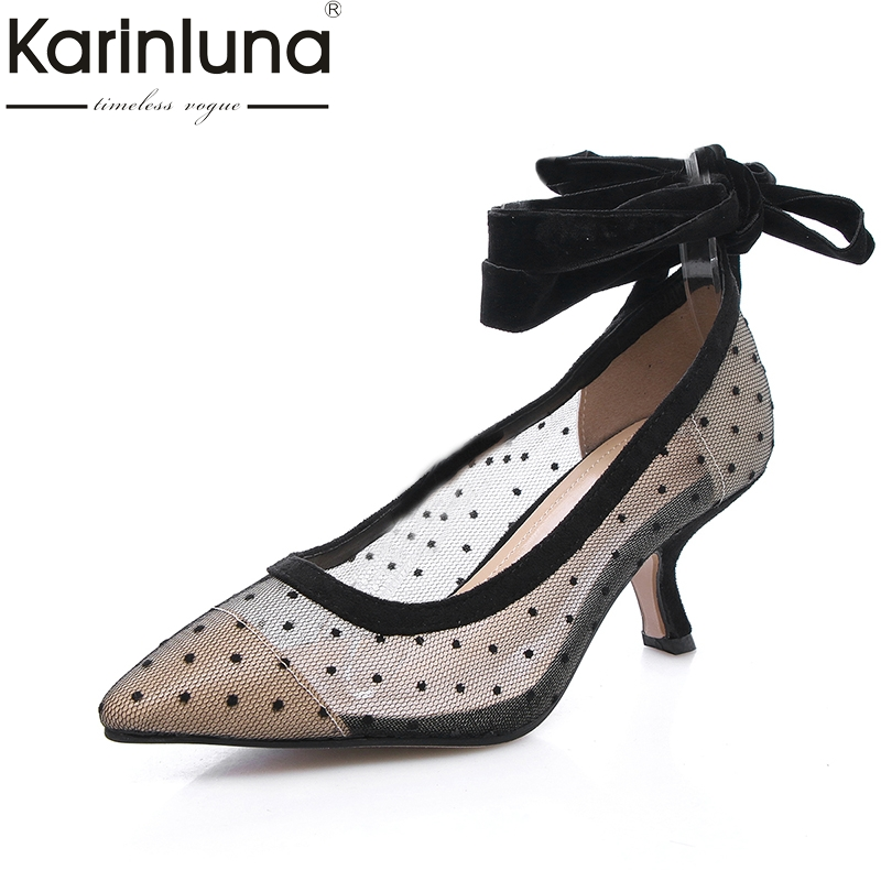 Karinluna 2018 New Top Quality Dropship Brand Design Ankle Warp Shoes Women Sexy Med Heels Party Wedding Shoes Pumps<br>